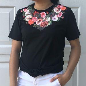 Pacsun Floral Black Shirt